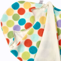 a morrck baby car seat blanket in morrck spot fleece and cream cotton jersey