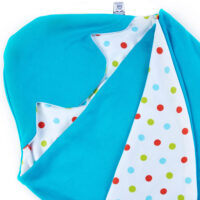 a morrck lightweight baby car seat blanket in turquoise and bright spot cotton jersey