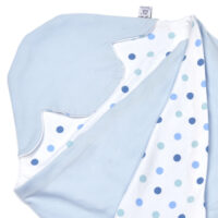 a morrck lightweight baby car seat blanket in pastel blue and blue spot cotton jersey