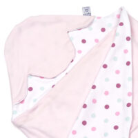 a morrck lightweight baby car seat blanket in pastel pink and pink spot cotton jersey