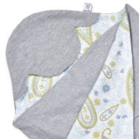 a morrck lightweight baby car seat blanket in grey marl and grey paisley cotton jersey