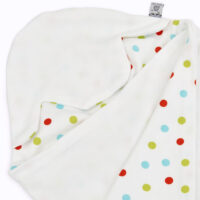 a morrck lightweight baby car seat blanket in white and bright spot cotton jersey