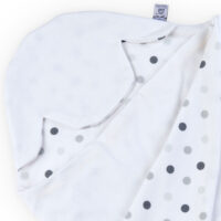 a morrck lightweight baby car seat blanket in white and triple grey spot cotton jersey